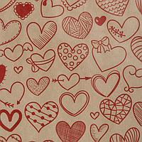 """Бумага упаковочная крафт """"Сердечки фигурные"""" , красный ,40г/м2, 072*1 м (3341671), фото 1"""