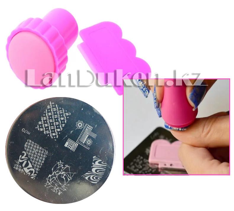 Набор для стемпинга ногтей m70 (пластина для дизайна ногтей, штамп, скребок)