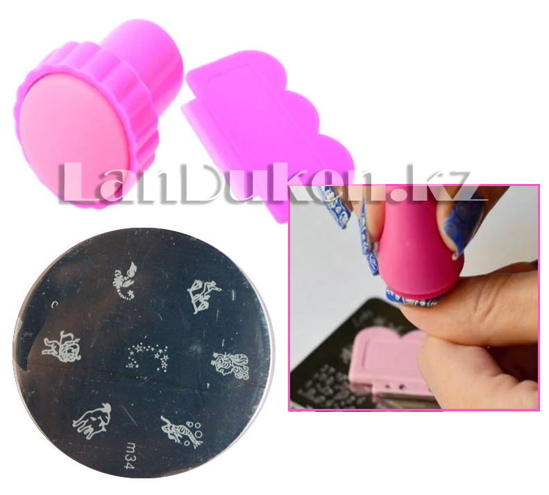 Набор для стемпинга ногтей m34 (пластина для дизайна ногтей, штамп, скребок)