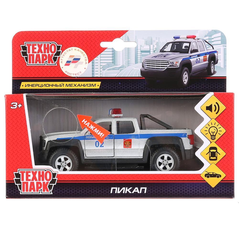 Технопарк Металлическая инерционная модель Пикап Полиция (свет, звук)