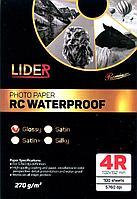 Фотобумага LIDER, односторонняя суперглянцевая, профессиональная, 4R, 270 гр., 100 листов