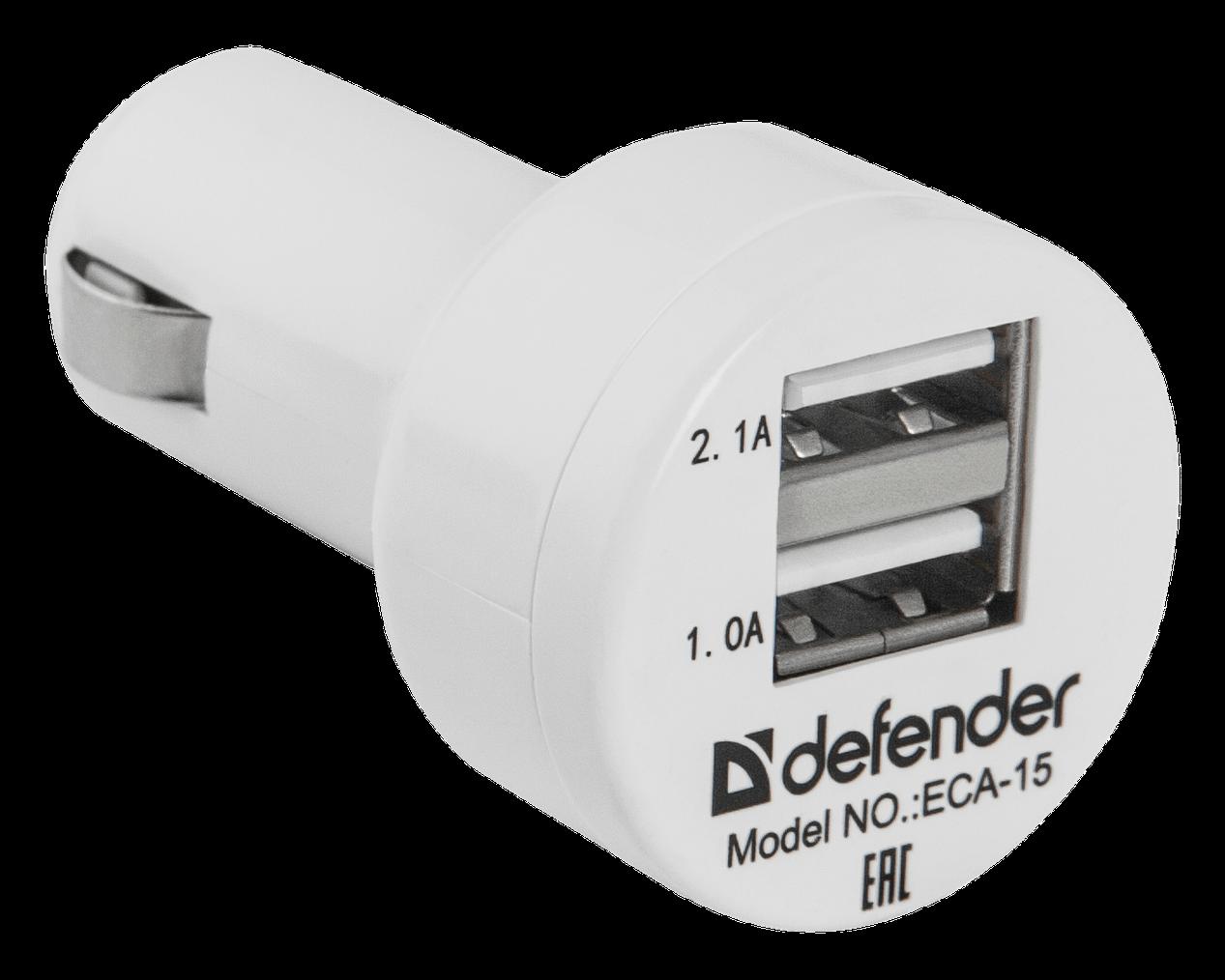 Зарядное устройство автомобильное Defender ECA-15 2 порта USB, 5V/2А белый