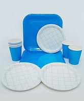 """Посуда для проведения праздников """"Клетка"""" - большие + десертные тарелки + стаканы"""