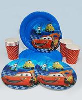 """Набор праздничной посуды """"Cars""""- большие + десертные тарелки + стаканы"""