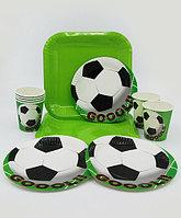 """Набор праздничной посуды """"Football""""- большие квадратные + десертные тарелки + стаканы"""