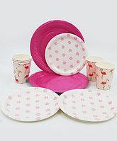 """Посуда для праздника """"Цветы и фламинго"""", 30 предметов"""
