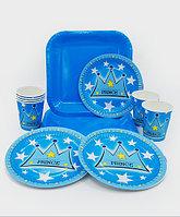 """Набор праздничной посуды """"Prince"""" - большие квадратные + десертные тарелки + стаканы"""