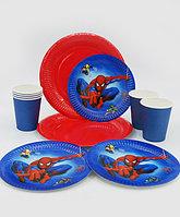 """Набор праздничной посуды """"Spider-Man""""- комплекты по 6 или 10 шт. - большие тарелки, десертные тарелки, стаканы"""