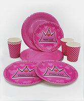 """Посуда для детского дня рождения """"Princess"""", 10 больших+10 десертных тарелок+10 стаканов"""