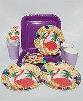 """Праздничная посуда """"Важный фламинго"""" - 6 дудок + 6 больших и 6 десертных тарелок + 6 стаканов"""