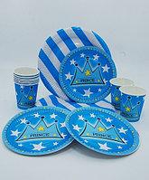 Посуда для праздника PRINCE - 10 больших + 10 десертных тарелок + 10 стаканов