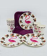 """Набор праздничной посуды """"Розовый фламинго"""" - 6 больших квадратных + 6 десертных тарелок + 6 стаканов"""