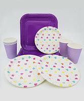 """Набор праздничной посуды """"Алмазы"""" - большие квадратные + десертные тарелки + стаканы"""