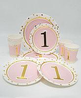 """Посуда на годик девочке """"Girl 1"""", с золотым рисунком, большие + десертные тарелки + стаканы"""