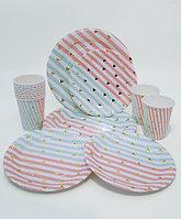 """Посуда для праздника """"Зубчики-полоски"""", золотое тиснение: большие + десертные тарелки + стаканы"""