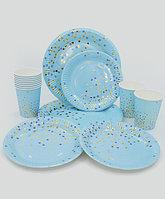 """Праздничная посуда """"Конфетти"""" - Золотое тиснение, большие + десертные тарелки + стаканы"""