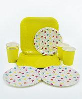 """Набор праздничной посуды """"Алмазы"""", большие квадратные + десертные тарелки + стаканы"""
