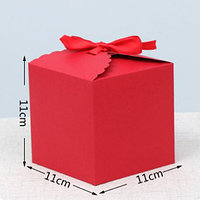 """Подарочная коробка """"Куб"""", 11 х 11 х 11 см, красный и крафт цвета, в комплекте лентой"""