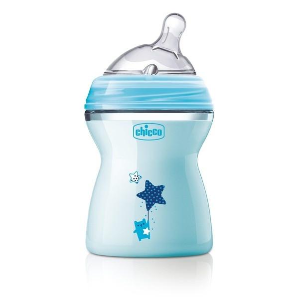 Бутылочка Chicco для кормления Natural Feeling силикон  250 ml 2м+, голубая