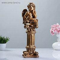 Фигура «Ангел сидя на колонне» бронза 13х13х52см