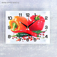 """Часы настенные, серия: Кухня, """"Перцы"""", 20х26 см микс"""