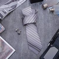 Набор мужской 'Стиль' галстук 1455см самовяз, запонки, линии, цвет серый