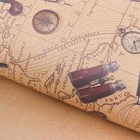 Бумага упаковочная крафтовая 'Карта странствий', 50 x 70 см (комплект из 20 шт.)