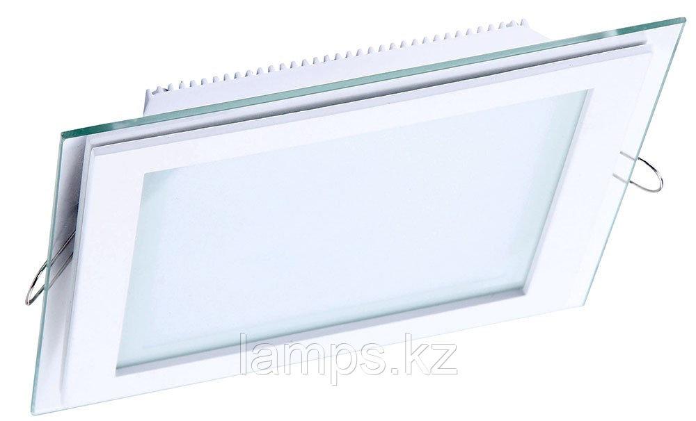 Панель светодиодная, квадратная, белая, встраиваемая, потолочная DL LED GLASS KVADRO PANEL12W 3000K