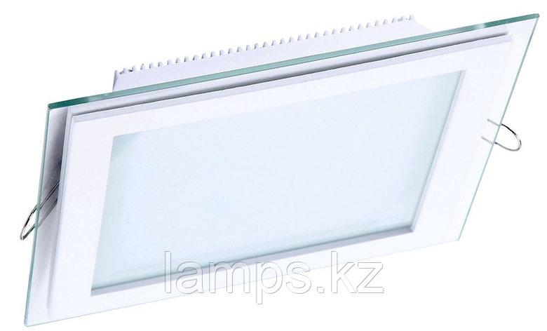 Панель светодиодная, квадратная, белая, встраиваемая, потолочная DL LED GLASS KVADRO PANEL12W 3000K, фото 2