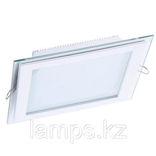 Панель светодиодная, квадратная, белая, встраиваемая, потолочная DL LED GLASS KVADRO PANEL12W 6000K