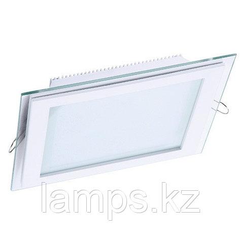 Панель светодиодная, квадратная, белая, встраиваемая, потолочная DL LED GLASS KVADRO PANEL18W 3000K, фото 2