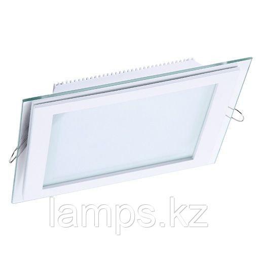 Панель светодиодная, квадратная, белая, встраиваемая, потолочная DL LED GLASS KVADRO PANEL18W4500K