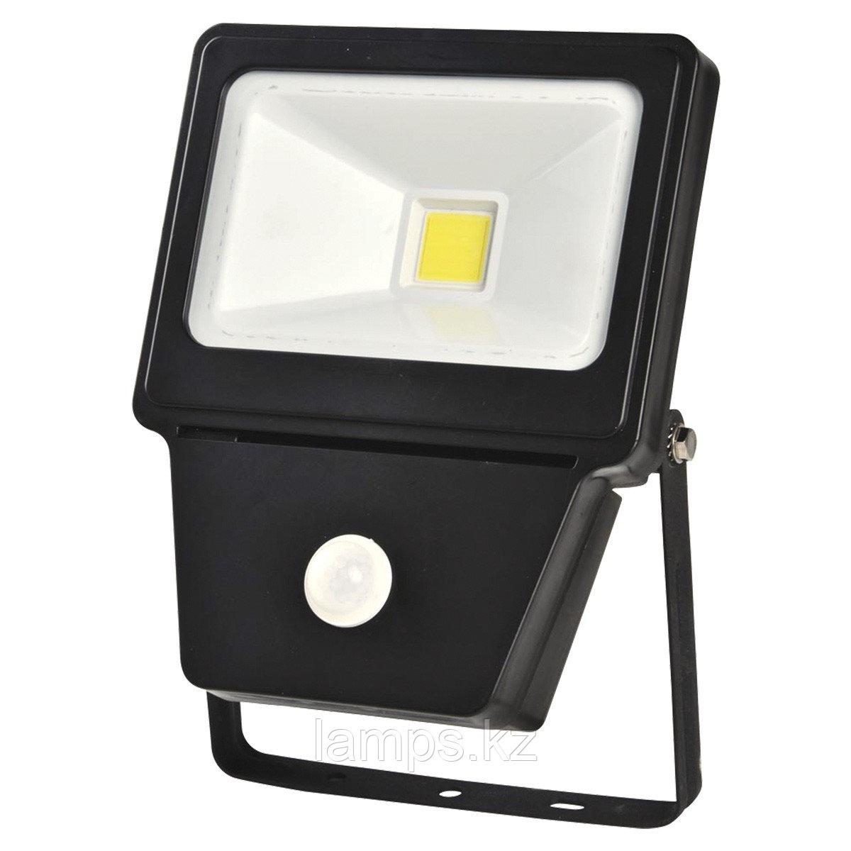 Светодиодный прожектор с датчиком движения. LED COB SENSOR 30W BLACK 6000K