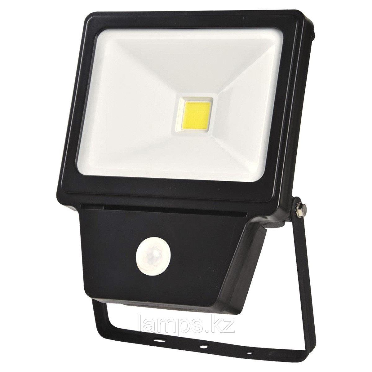 Светодиодный прожектор с датчиком движения. LED COB SENSOR 50W BLACK 6000K