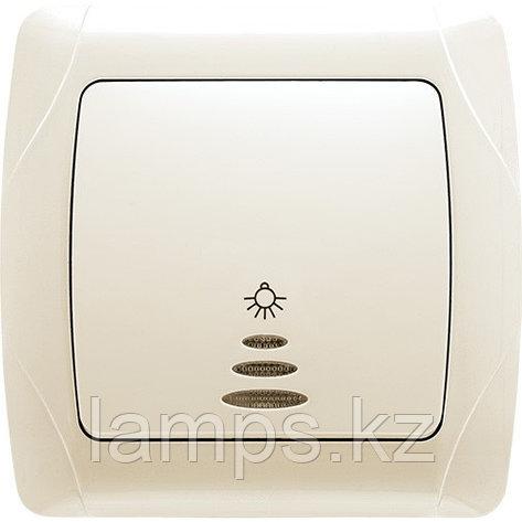 Viko CARMEN KREM кнопочный выключатель с подсветкой, фото 2