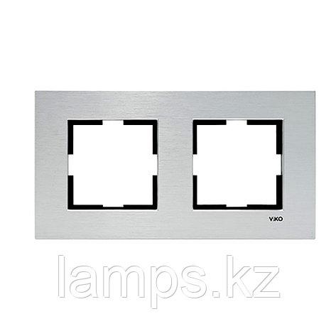 Viko NOVELLA ELOXAL GUMUS металлическая рамка двойная, фото 2