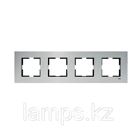 Viko NOVELLA ELOXAL GUMUS металлическая рамка четверная, фото 2