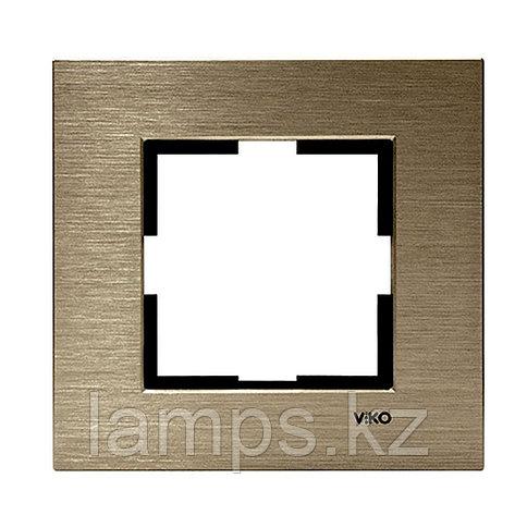 Viko NOVELLA ELOXAL BRONZ металлическая рамка одинарная, фото 2