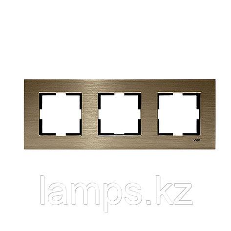 Viko NOVELLA ELOXAL BRONZ металлическая рамка тройная, фото 2