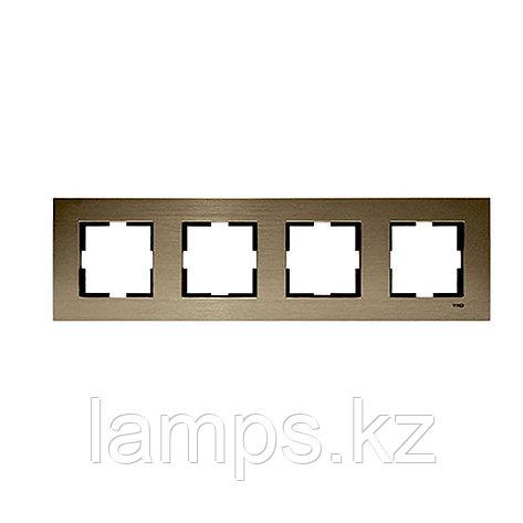 Viko NOVELLA ELOXAL BRONZ металлическая рамка четверная, фото 2