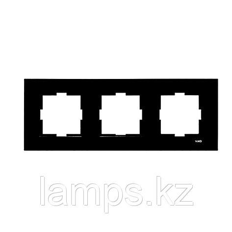 Viko NOVELLA ELOXAL SIYAH металлическая рамка тройная, фото 2