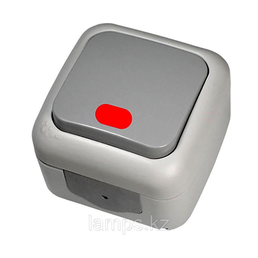 Выключатель 1-кл c подсветкой серый ViKO Palmiye 90555519, IP54 накладной