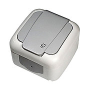 Розетка с заземлением серый ViKO Palmiye 90555508, IP54 накладной