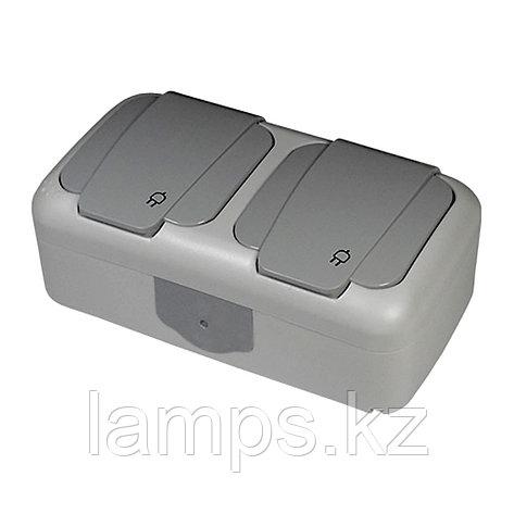 Розетка с заземлением 2-ная серый ViKO Palmiye 90555588, IP 54 накладной, фото 2