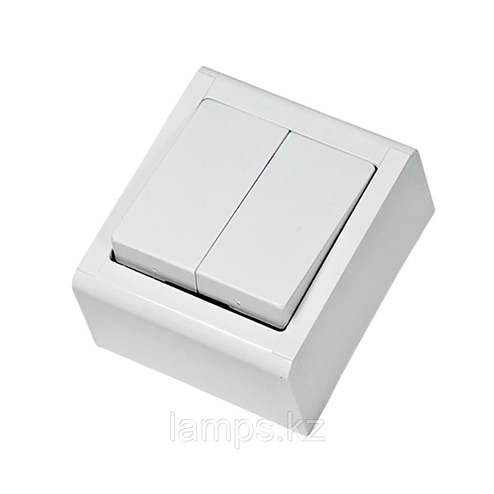 Выключатель 2-кл, накладной, белый, MEPA LUX