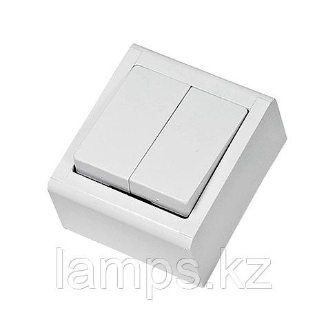 Выключатель 2-кл, накладной, белый, MEPA LUX , фото 2