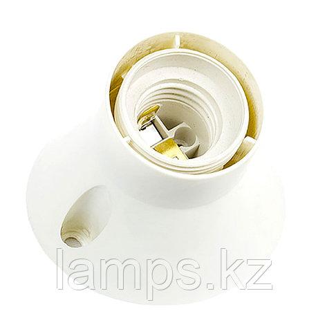Патрон-стойка пластиковая, наклонная, цвет белый настенный E27, фото 2