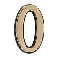 Цифра дверная '0', пластиковая, цвет золото (комплект из 50 шт.)