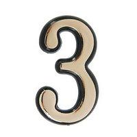Цифра дверная '3', пластиковая, цвет золото (комплект из 50 шт.)