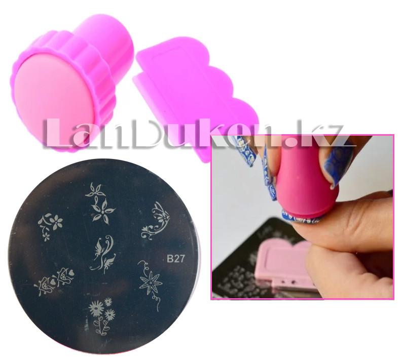 Набор для стемпинга ногтей B27 (пластина для дизайна ногтей, штамп, скребок)
